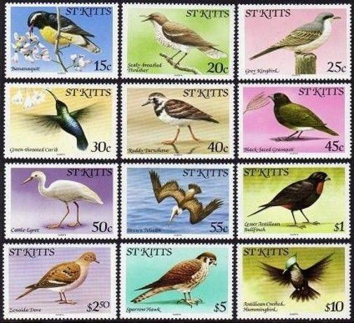 St Kitts 55-66 Questra,Mnh.michel 44-61-I. Vögel 1981.Banana-quit,Thrasher,Egret