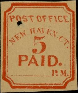 #8XU1R NEW HAVEN, CONN, 5¢ RED REPRINT IMPRESSION WITH HOLE BQ172