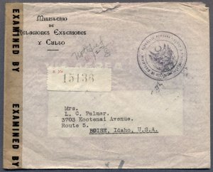 PERU to IDAHO: 1944 Reg Censored Cover; Foreign Affairs Ministry Diplomatic Mail