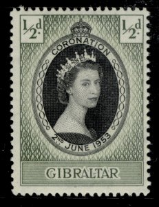 GIBRALTAR QEII SG144, ½d 1953 CORONATION, NH MINT.