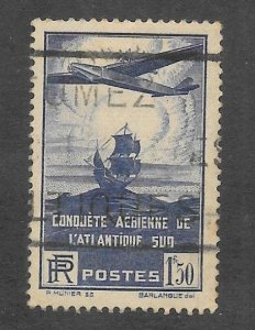 France Scott C16 Used 1.50Fr Airplane & Galleon Airmail stamp  2015 CV $5.25