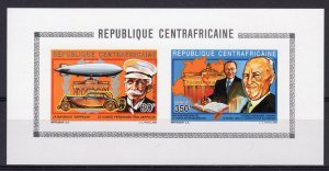 Central African 1992 Mi#1461B/1464B Zeppelin-Adenauer Compound S/S IMPERF.MNH