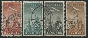 Denmark 1934 Airmails 15, 20, 50 ore & 1 krone used