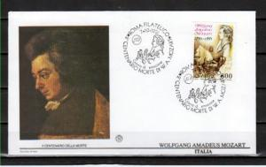 Italy, Scott cat. 1855. Composer W. A. Mozart issue. First day cover.