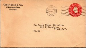 NYC NY > Nyack NY Hud Term Station cancel 1919 2¢ postal stationery