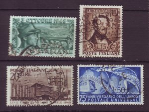J22626 Jlstamps 1948-9 italy sets used #507-9,514 designs
