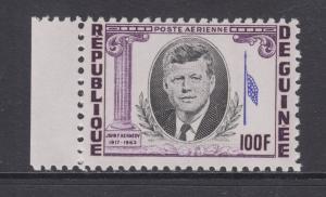 Guinea Sc C56 var MNH. 1964 100f JFK, red print missing, ERROR