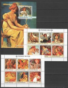 NS346 2003 GUINEA-BISSAU ART PAINTINGS ALPHONSE MUCHA 1BL+2KB MNH