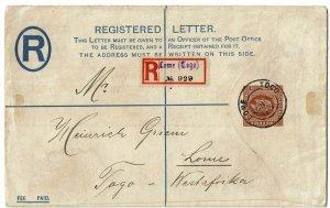 Togo (British Occupation) 1915 Lome cancel on Gold Coast registry envelope