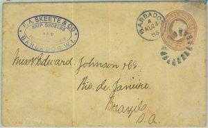 BK0405 - BARBADOS -  POSTAL HISTORY -  STATIONERY  COVER to BRAZIL !! 1886