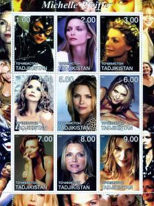 Tadjikistan 2001 Michelle Pfeiffer American Actress Sheet (9) Perforated mnh.vf
