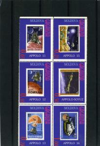Gagauzia Moldova 1997 Space Apollo (6) stamps Perforated mnh.vf