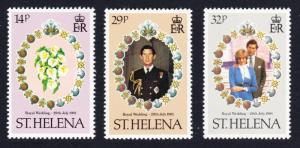 St. Helena Charles and Diana Royal Wedding 3v SG#378-380 SC#353-355 SALE BELOW