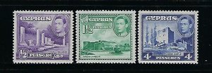 CYPRUS SCOTT #164-166 1951 GEORGE VI TYPES WITH DIFFERENT COLORS- MINT NH/LH