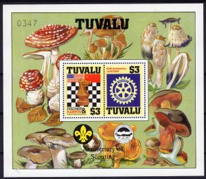 Tuvalu 1986 Sc#352  Chess/Rotary/Fungi/Scouts S/S Decorative Perforated  MNH