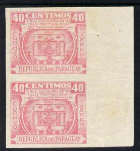 Paraguay 1952 Columbus Memorial - Urn 40c rose-pink IMPER...