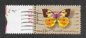 1714 Used 13c. Butterfly, Plate # Single, Free, Insured Shipping