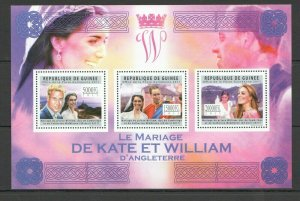 BC287 2011 GUINEA ROYAL WEDDING PRINCE WILLIAM & CATHERINE MIDDLETON 1KB MNH