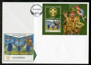 GUINEA BISSAU 2018 SCOUTS  SOUVENIR SHEET FIRST DAY COVER