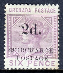 GRENADA — SCOTT J4 (SG D4) — 1892 1d ON 6d RED LILAC POSTAGE DUE — MH — SCV $110