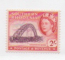 Southern Rhodesia Sc 90 1953 2/ QE II & Bridge stamp mint