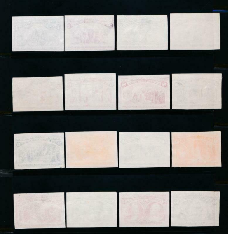 UNITED STATES (US) 230-245 P3 INDIA PROOFS CPL.SET GREAT COLOR & VF, SMALL THINS