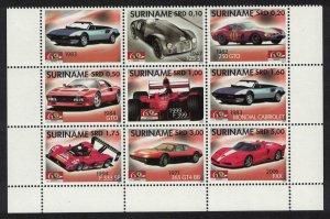Suriname Ferrari Motor Cars Block of 8v+Label Type 2 SG#2254-2261