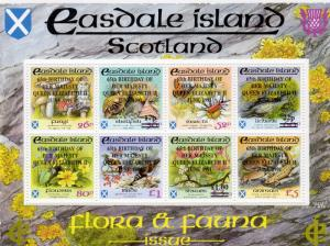Easdale Island (Scotland) 1991 Flora & Fauna ovpt.65th.Birthday Queen Elizabeth