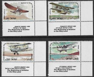 ISRAEL 1985 AVIATION IN THE HOLY LAND Set Sc 900-903 w TABS MNH