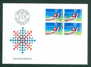 Switzerland. Flight Cover 1979. 4-Block Airport. Swissair- Air France. Sc# 674.