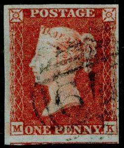 SG8, 1d red-brown PLATE 96, FINE USED. Cat £40. 4 MARGINS. MK