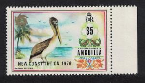 Anguilla Brown Pelican Bird 1v $5 Overprint 'Constitution' KEY VALUE SG#239