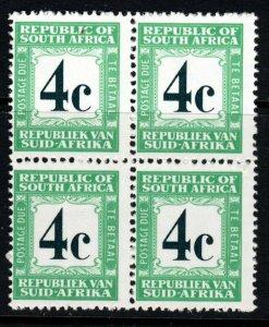 SOUTH AFRICA 1971 4c. Deep Myrtle Green & Emerald POSTAGE DUE BLOCK SG D74 MNH