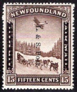 194a, NSSC, Newfoundland, 15c, L & S Post overprint, MNHOG, VG/F,Scott 211
