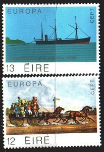 Ireland. 1979. 412-13. Postal transport, ship, horses, europe-sept. MLH.