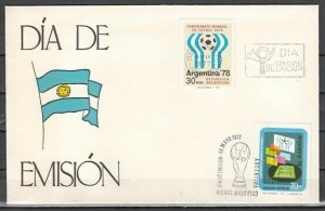Argentina, Scott cat. 1147-1148. 11th W.C. Soccer issue. First day cover. ^