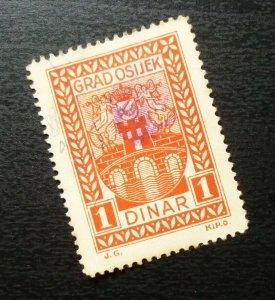 Croatia OSIJEK Yugoslavia Local Revenue Stamp 1 DINAR B32