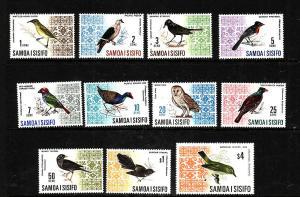 Samoa-Sc#265-274B ex #274A-Unused NH set-Birds of Western Samoa-1967-