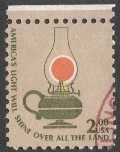 US  1978 Sc 1611  $2 Keroene Lamp, Used VF, Shifted Center Light