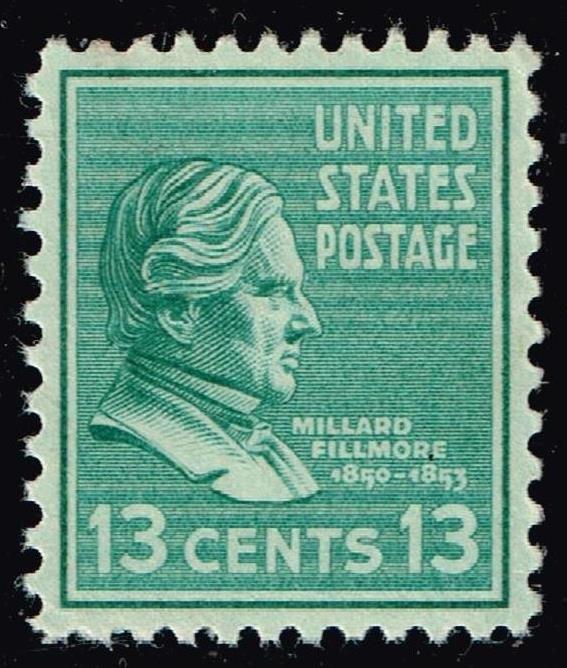 US STAMP #818 – 1938 13c Fillmore, green MNH/OG  SUPERB