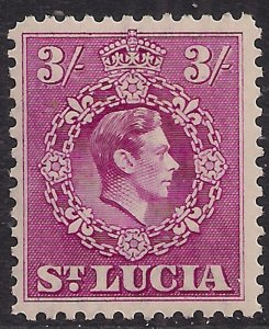 St Lucia 1938 - 48 KGV1 3/-d Bright Purple MM SG 136a ( A776 )