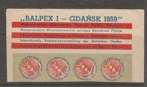 Poland Gdansk 1959 Cinderella stamp 9-20-18 imperf piece- nice -4 stamps