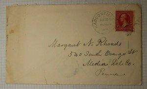 US Sc# 267 Used On Cover Haddonfield Philadelphia Transit 5 Receiving Back Stamp