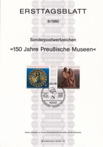 Germany Berlin ETB 6 / 1980 SC #9N453, 9N454 Prussian Museum 150 anniv. Berlin.