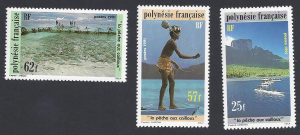French Polynesia #571-3 MNH, set, stone fishing, issued 1991