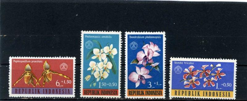 INDONESIA 1962 Sc#B146-B149 FLORA FLOWERS SET OF 4 STAMPS MNH