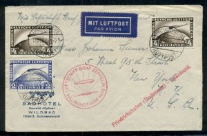 GERMANY, 1929 Zeppelin Round-the-World flight cover franked w/4mk (2) + 2mk, VF