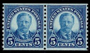 US Stamp #602 Coil Pair 5c Roosevelt MINT NH SCV $7.50