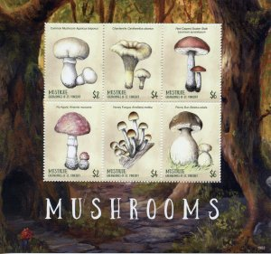 Mustique Grenadines St Vincent 2019 MNNH Mushrooms 6v M/S Fungi Nature Stamps