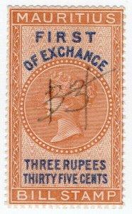 (I.B) Mauritius Revenue : Bill of Exchange 3R 35c (First)